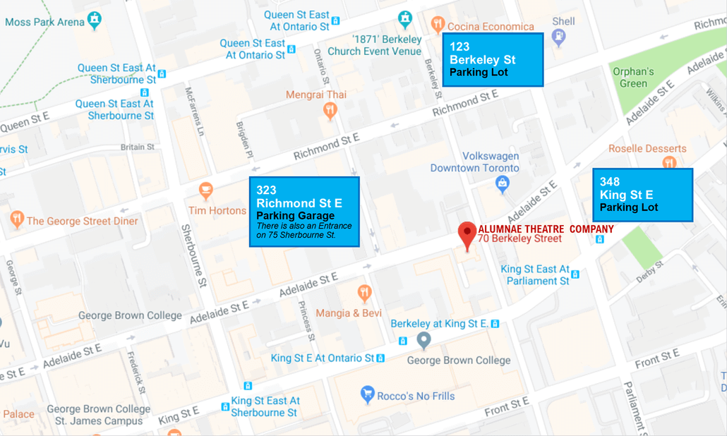 Parking Map for 70 Berkeley Street near Alumnae Theatre Company