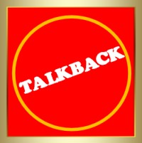 Alumnae Theatre Company - Talkback icon - in red